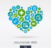 Färgcirklar med plana symboler i en hjärta formar: medicin läkarundersökning, hälsa, kors, sjukvårdbegrepp abstrakt bakgrund royaltyfri illustrationer