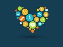 Färgcirklar med plana symboler i en hjärta formar: medicin läkarundersökning, strategi, hälsa, kors, sjukvårdbegrepp Royaltyfri Bild