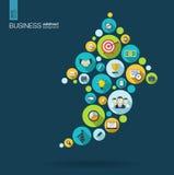 Färgcirklar med plana symboler i en pil upp affären, marknadsföringsforskning, strategi, beskickning, analyticsbegrepp Arkivbild