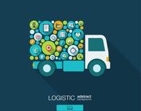 Färgcirklar, plana symboler i en lastbil formar för fördelning, leveransen, service, sändnings som är logistisk, transport, markn Royaltyfri Bild