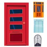 Färgdörrframdelen som ska inhysas, och stil för byggnadslägenhetdesign isolerade elegant för modern ny garnering för vektorillust stock illustrationer