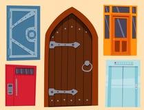 Färgdörrframdelen som ska inhysas, och stil för byggnadslägenhetdesign isolerade elegant för modern ny garnering för vektorillust royaltyfri illustrationer
