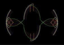 Färgdesignsammansättning med kulöra slaglängder på en svart Arkivbild