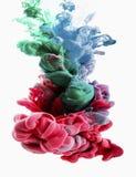 Färgdroppe varma rosa färger, smaragd, gräsplan, ljus - blått Arkivfoto