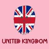 Färgefterföljd av den brittiska flaggan med lejonet, nationellt djur Royaltyfri Fotografi