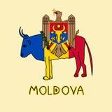 Färgefterföljd av den Moldavien flaggan med aurochsen, nationellt djur Fotografering för Bildbyråer
