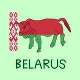 Färgefterföljd av den Vitryssland flaggan med den europeiska bisonen, nationellt djur Royaltyfri Fotografi