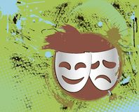 färgemblemen maskerar teatertappning Arkivfoton