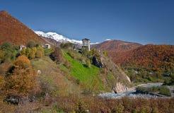 Färger av hösten i Georgia Racha Slutet av Oktober 2014 Arkivbilder