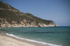 Färger av Sardinia. Solanas strand Arkivbilder