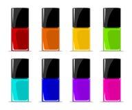 Färger av spikar färger som innehålls i genomskinliga flaskor Royaltyfria Bilder