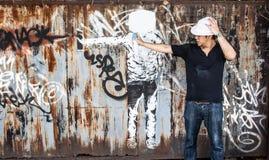 färger för teckning för abstrakt begrepp för grafitti för sprejgatakonst idérika på th Royaltyfri Bild