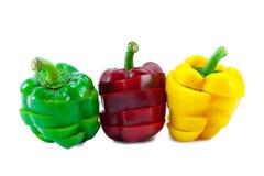 Färgerna av att skiva söta peppar Royaltyfria Foton