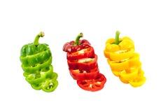 Färgerna av att skiva söta peppar Royaltyfri Bild