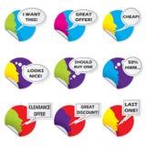 Färgetiketten ställde in med olika meddelanden Arkivbilder