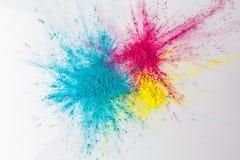 Färgexplosionbegrepp med holipulver Arkivfoto