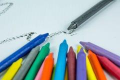 Färgfärgpennor Royaltyfria Foton