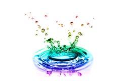 Färgfärgstänk av vatten Fotografering för Bildbyråer