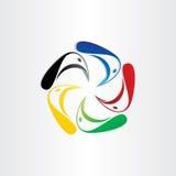 Färgfåglar i cirkelsymbol Royaltyfri Fotografi