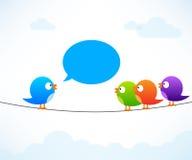 Färgfåglar på tråd vektor illustrationer