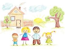 färgfamiljhuset skissar Royaltyfri Bild
