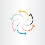 Färgflygplatsflygplan som flyger logo Arkivfoto