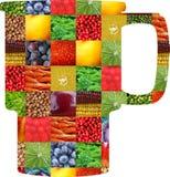 Färgfrukter och grönsaker ny mat Begrepp collage arkivbilder