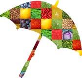 Färgfrukter och grönsaker ny mat Begrepp collage fotografering för bildbyråer