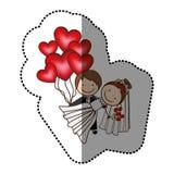 färggifta paret med röd hjärta bombarderar Fotografering för Bildbyråer