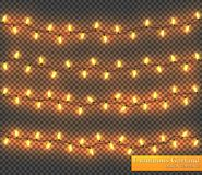 Färggirland, festliga garneringar Glödande julljus som isoleras på genomskinlig bakgrund Royaltyfri Bild