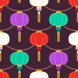Färggirland med rund form för kinesiska lyktor Kan den sömlösa modellen för vektorn användas för att hälsa affischen, partiinbjud stock illustrationer