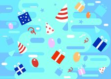 Färgglad bakgrund för lycklig beröm i plan stil med gåvor, gåvor, band, ballongillustrationer ocks? vektor f?r coreldrawillustrat royaltyfri illustrationer