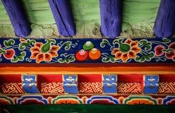 Färgglad detalj i den tibetana kloster, Tibet Royaltyfria Foton