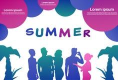 Färgglad folkkontur, grupp av mångfaldmankvinnan, utrymme för kopia för vit bakgrund för sommarbegreppsbubblor horisontal stock illustrationer