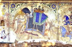 färgglad frescoesindia mandawa royaltyfri illustrationer