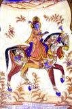 färgglad frescoesindia mandawa vektor illustrationer