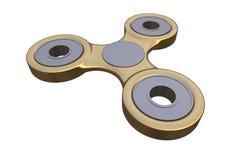 Färgglad guld- spänning för spinnare för finger för stålmetallrastlös människa, illustration för ångestlättnadsleksak 3d Arkivbilder