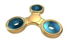 Färgglad guld- spänning för spinnare för finger för stålmetallrastlös människa, illustration för ångestlättnadsleksak 3d Arkivfoto