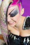 Färgglad hårkvinna Arkivbild