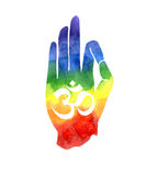 Färgglad hand med Om-symbol arkivfoto