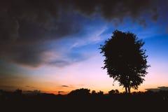 Färgglad himmel på solnedgången i molnig dag Royaltyfria Bilder