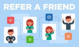 Färgglad illustration av arbetsremissinbjudningar från vänner royaltyfri illustrationer