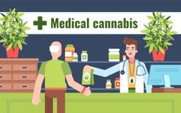 Färgglad illustration av den medicinska rekvisitan av cannabis vektor illustrationer