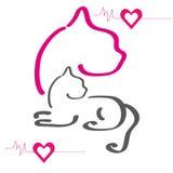 Färgglad kontur av katter Vektor Illustrationer
