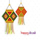 Färgglad lampa (Kandil) för lycklig Diwali beröm royaltyfri illustrationer