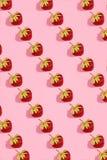 Färgglad ljus modell med den mogna jordgubben Top beskådar Rosa bakgrund arkivfoto