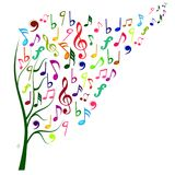 Färgglad musik noterar trädet Arkivfoton