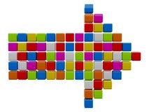 Färgglad pil från kuber Arkivbild
