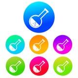 Färgglad rund symbol för kemiflaskakontur Vit på en vibrerande lutningbakgrund royaltyfri illustrationer