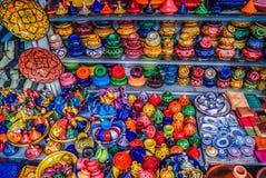 Färgglad tajine Marrakesh Marocko arkivfoto